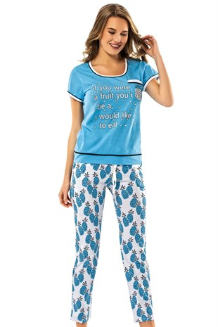 8574 Blue Pineapple - Erdem Bayan Pijama