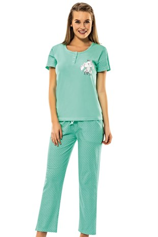 8586 Green Rabbit - Erdem Bayan Pijama